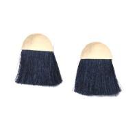 Vibrant Navy Blue Thread Fringe Half Moon Statement Earrings