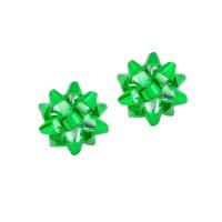Christmas Green Decoration Bow Stud Earrings