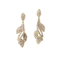 Sparkling Gold Crystal Leaf Dangle Statement Earrings