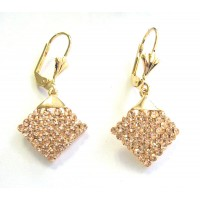 Glittering Gold Rose Gold Diamond Drop Earring