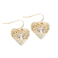 Gold Cubic Zirconia Rhinestone Heart Dangle Earrings