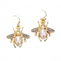 Gorgeous Pearly Gold Honey Bee Statement Earrings