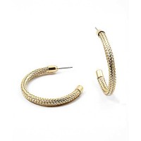 Stylish Modern Rope Gold Hoop Earrings