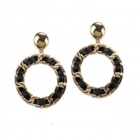 Inspired Iconic Black Leatherette Chain Hoop Earrings