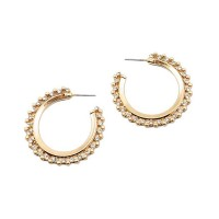 Glamorous Crystal Beads Gold Hoop Earrings