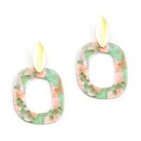 Gorgeous Pink Green Pop Art Drop Statement Earrings