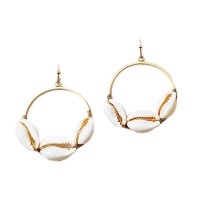 Tri Puka Seashell Gold Hoop Statement Earrings