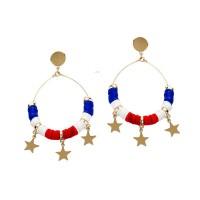 Patriotic Red White Blue Stars Dangle Hoop Earrings