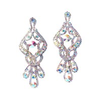 Ultra Jumbo Dazzling Rhinestone Dangle Crystal Fringe Statement Earrings