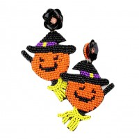 Jolly Floral Pumpkin Witch Dangle Statement Earrings