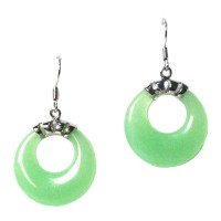 Stunning Apple Green Jade Dangle Hoop Earrings
