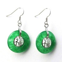 Green Jade Fook Dangle Loop Earrings