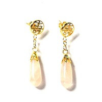 10k Gold Plated Longevity Dangle Earrings