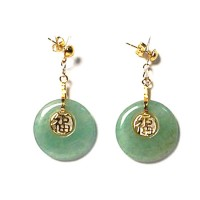 Classic 10K Gold Plated Round Jade Fook Longevity Pendant Dangling Earrings