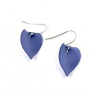 HANDCRAFTED BLUE RESIN LEAF DANGLE EARRINGS