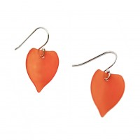 Handcrafted Orange Resin Leaf Dangle Earrings