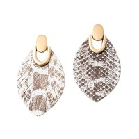 Luxurious Tan Snake Genuine Leather Dangle Earrings