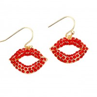 Romantic Red Rhinestone Lip Dangle Earrings