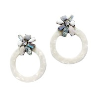 GORGEOUS JUMBO WHITE POP ART DROP STATEMENT EARRINGS