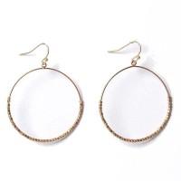 Gold Round Hammered Beaded Hoop Earrings