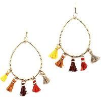 Multi-Color Tassel Tear Drop Dangle Gold Earrings