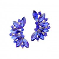 Stunning Sapphire Blue Marquise Floral Rhinestone Statement Earrings