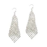 GLITTER SILVER RHINESTONE MESH DANGLE EARRINGS