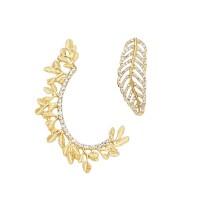 Glittering Gold Rhinestone Mismatched Leaf Earrings