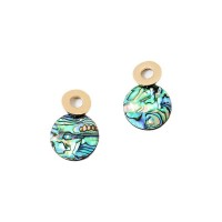 Iridescent Abalone Mother Of Pearl Round Drop Statement Earrings