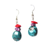 GENUINE TURQUOISE NUGGET CORAL DANGLING EARRINGS