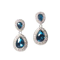 Sparkling Blue Crystal Teardrop Pendant Statement Earrings