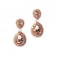 Sparkling Rose Gold Crystal Teardrop Pendant Statement Earrings