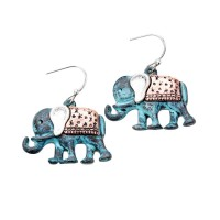 PATINA COPPER BOHO ELEPHANT DANGLE EARRINGS