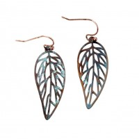 Patina Copper Boho Cut Out Leaf Dangle Earrings