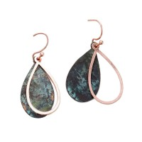 PATINA COPPER BOHO TEARDROP DROP DANGLE EARRINGS