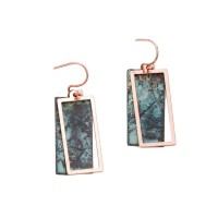 PATINA COPPER BOHO GEOMETRIC DANGLE EARRINGS