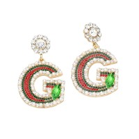 DAZZLING PEARLY LETTER G DANGLE STATEMENT EARRINGS