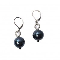 LUSTROUS BLACK FRESH WATER PEARL PIANO WIRE EARRING