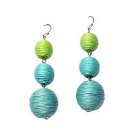 Vintage  3-Tiers Green & Blue Disco Ball Drop Earrings
