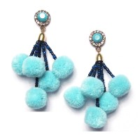 Blue Pom Poms Cluster Statement Earrings