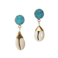 Puka Seashell Glittering Blue Gold Dangle Statement Earrings