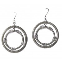 Tigerstars Handcrafted Jumbo Silver Double Hoop Piano Wire Dangle Drop Earrings