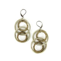 Handcrafted Bronze Silver Double Rings Piano Wire Dangle Drop Earrings