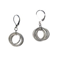 Handcrafted Silver Multi Rings Piano Wire Dangle Drop Earrings