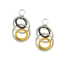 Handcrafted Gold Silver Pewter Double Rings Piano Wire Dangle Drop Earrings