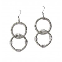 Handcrafted Silver Double Ring Piano Wire Dangle Drop Earrings