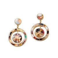 Stunning Tortoise Circle Dangle Earrings