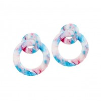 Gorgeous Multi Pastel Pop Art Hoop Statement Earrings