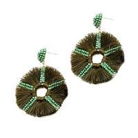 Green Round Fringe Beaded Statement Earrings