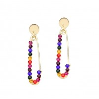 Multi Color Rhinestone Pave Safety Pin Earrings